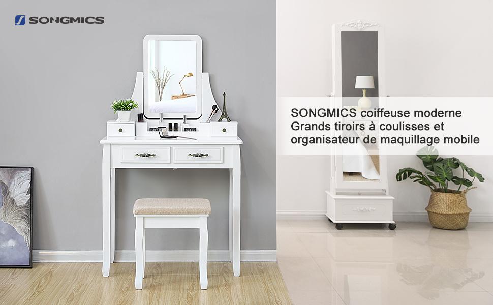 Songmics coiffeuse table de maquillage grands tiroirs à