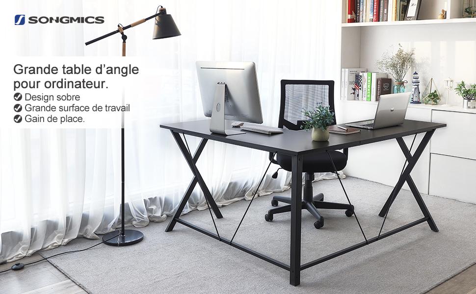 Songmics bureau informatique table d angle bureau de travail x