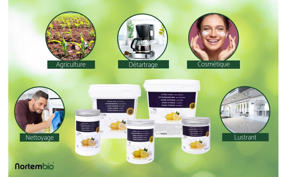 1b5743f34093 L acide citrique NortemBio est un produit très pur, sans agents  transgéniques ni antiagglomérants. La qualité de notre produit est garantie  par la ...