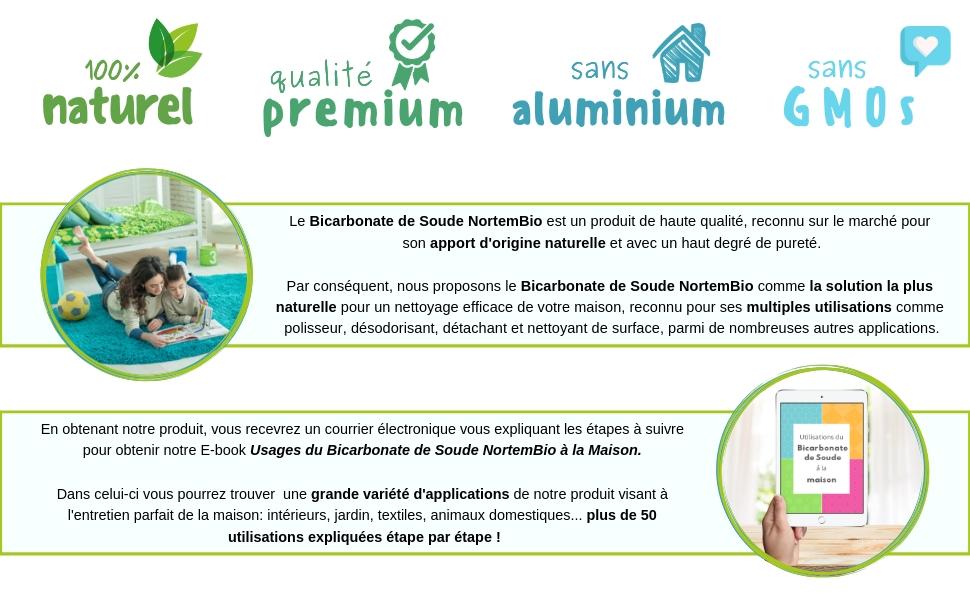 NortemBio Bicarbonate de Soude Biologique Qualité Supérieure