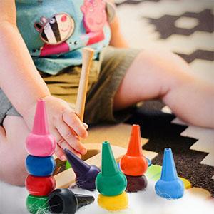 12 Crayons Couleurs pour Les Tout-Petits Gar/çons et Filles Enfants Keten Crayons de B/éb/é S/ûret/é de Lavage et Non Toxiques pour Tout-Petits B/âtonnets de Crayons Jouets Empilables pour B/éb/és