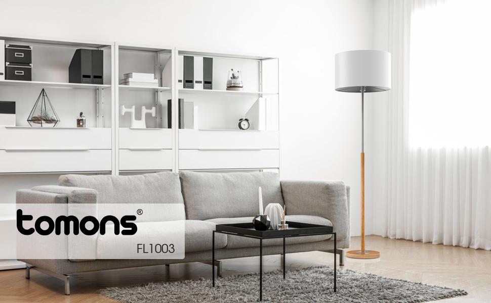 Tomons Lampadaire sur Pied Salon LED en Bois et Métallique du Blanc ...