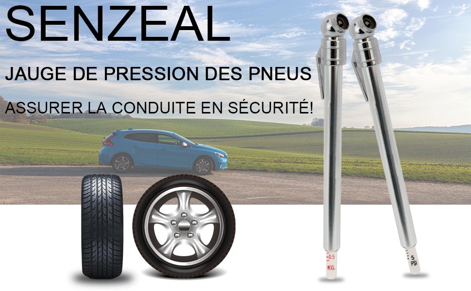 SENZEAL 2X Alliage daluminium testeur de Pression de Pneu Manom/ètre Stylo pour Voiture Van Moto v/élo