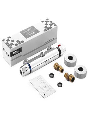 Mitigeur thermostatique de douche thermostatique 38 /°C avec bouton de s/écurit/é robinet de baignoire en laiton chrom/é pour salle de bain mitigeur thermostatique