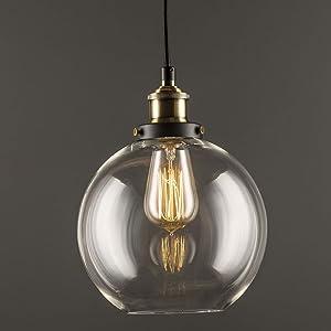 Lightess Suspension Luminaire Industrielle R/étro Vintage E27 Plafonnier Eclairage Lustre Abat-Jour en M/étal Lumi/ère pour Cuisine Chambre Salle /à Manger Salon Bronze
