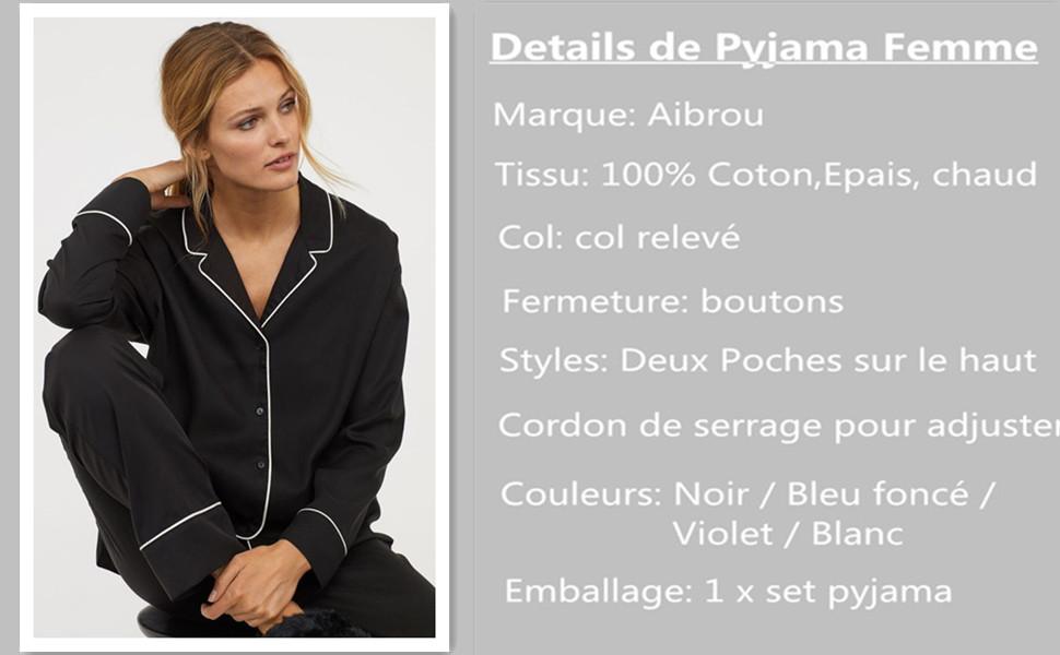 10cfcd933f67f Aibrou 100% Cotton Pyjama Femmes Hiver épais Chaud Manche Longue ...