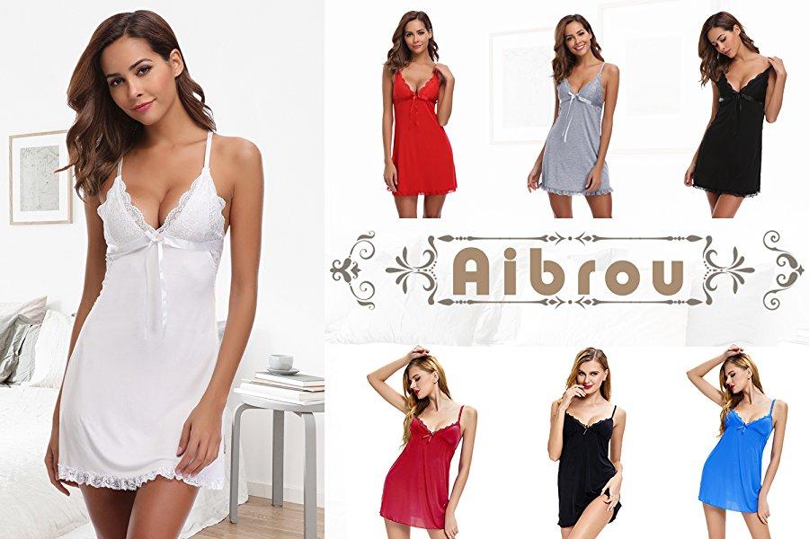 Aibrou Nuisette Femme Coton Nuisette Babydoll Chemise de nuit simple Bretelles  Reglables Robe de Chambre f440a73fc73