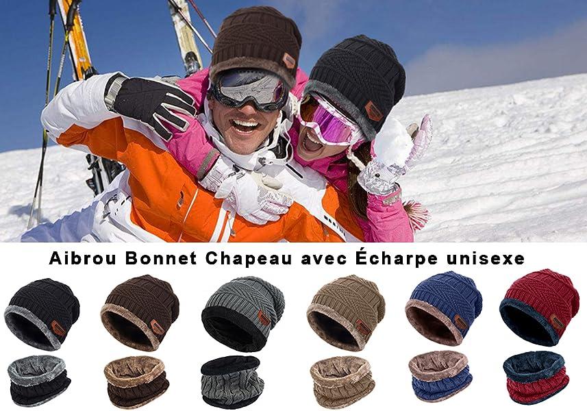 a2e387656c39 Aibrou Bonnet Chapeau Tricot, Tour de Cou avec Doublure Polaire ...