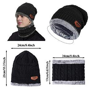 3ced35f10194 Aibrou Chauffant Bonnet Tricot avec Écharpe de Doublure Polaire, Hiver  Chapeau Beanie