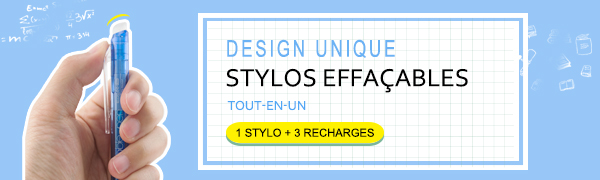 Pack 1 Stylo et 3 Recharges Stylo Gomme a Pointe 0.7mm Stylo Effa/çable Bleu Ezigoo 9BL808 /… B06XCT9WS2