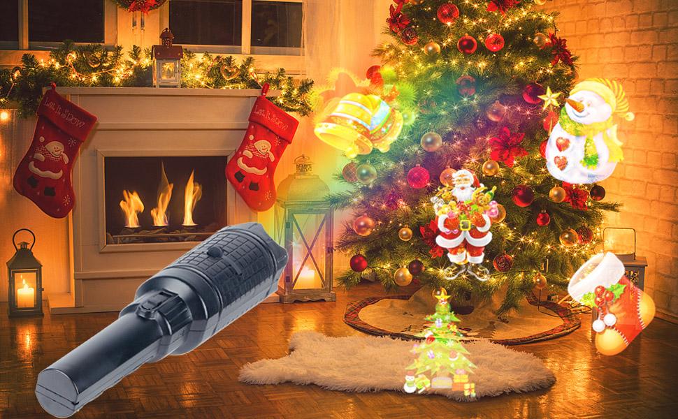 Projecteur de Lumi/ère No/ël UNIFUN 12pcs Motifs Lampe de Poche Projecteur /Éclairage de No/ël Ext/érieur D/écoration pour No/ël Halloween F/ête Vacances Anniversaire