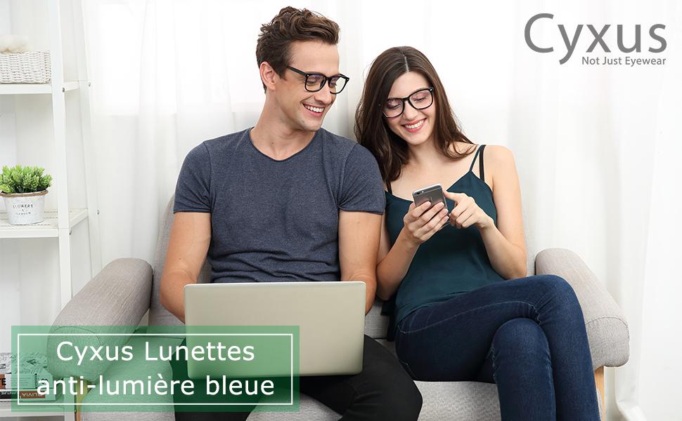 Cyxus Lunette Anti-Lumière Bleue, Lunettes d'Ordinateur - Anti fatigue Oculaire Filtre UV, Lunettes Anti-Lumière Bleue…