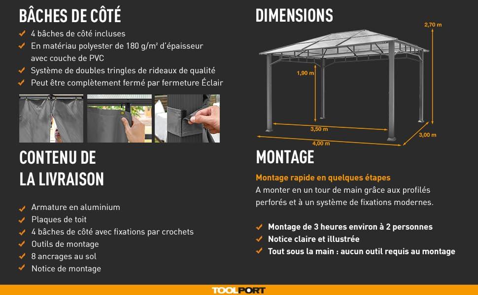 Profil 3x4m De 4 Pavillon 9x9cm Polycarbonate Toit En Gris Alu Deluxe Jardin Toolport Partie Tente 8mm Côtés Imperméable dCQeWrBxo