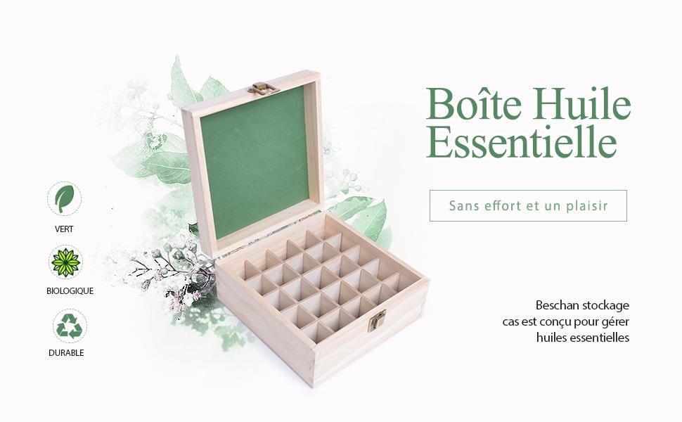 Beschan 25 Trous Bo/îte Huile Essentielle Aromath/érapie en Bois Rangement Trousses de Toilette Sac /à cosm/étiques avec insertions