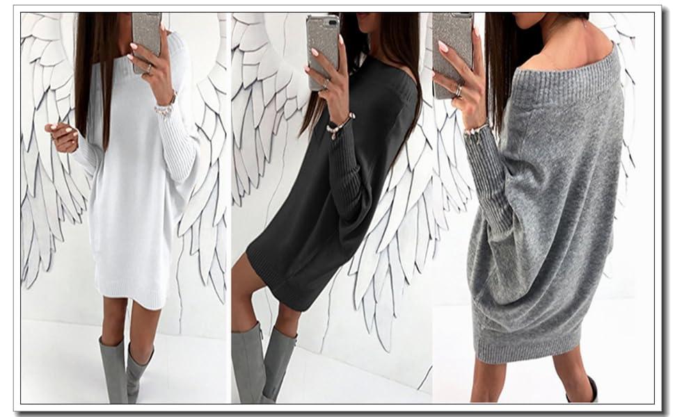 82f3474bf34 Caractéristiques du produit ASSKDAN Femme Sexy Pull Robe En Tricot Uni Col  Rond Manche Longue Oversize Sweater Automne Hiver avez 3 couleurs et 4  tailles .