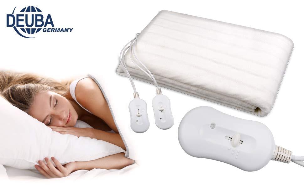 Couverture chauffante blanche 2 places 2 télécommandes protection froid lit canapé matelas hiver