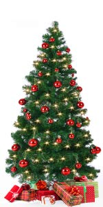 arbre sapin de noël pop up 150 cm décoration décoré boules rouges ilumination