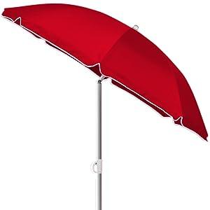 Kingsleeve Parasol Inclinable Parasol De Plage Rouge Réglable Hydrofuge 180 Cm Plage Pique Nique Jardin Terrasse Pare Soleil