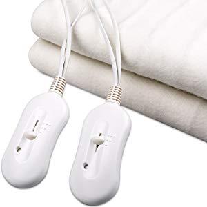 couverture chauffante blanche avec 2 télécommandes pour 2 places lit matelas