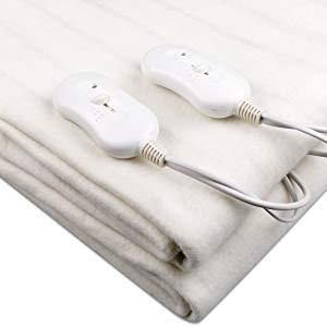 couverture chauffante blanche avec 2 télécommandes chaleur protection froid hiver