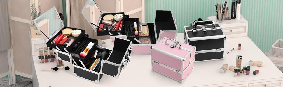 25 x 18,5 x 23 cm Funime Mallette de maquillage avec 4 plateaux et serrures /à cl/és rose rose