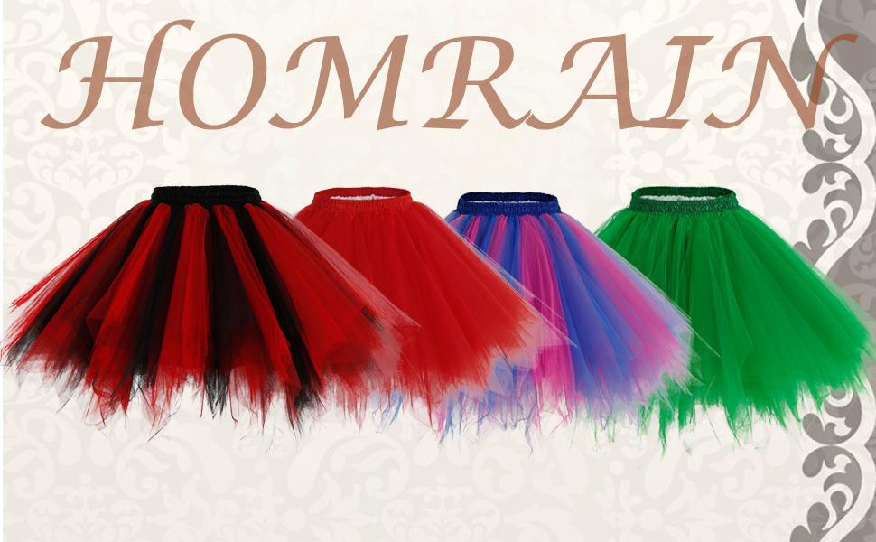 Homrain Jupe Tutu Jupon Ballet Court de D/éguisement Carnival en Tulle Couleurs vari/ées