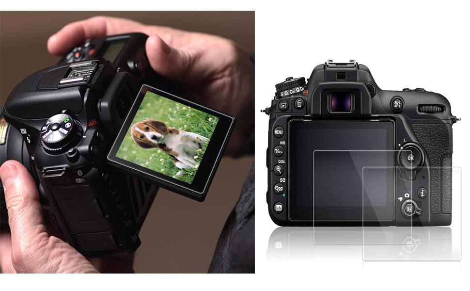 Film Tremp/é de Verre savvies Verre Tremp/é Compatible avec Nikon D3300 2 Pi/èces Duret/é 9H Vitre Protection Ecran