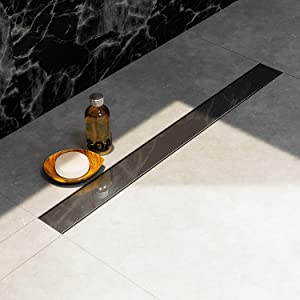 Longueur : 90 cm poli miroir Profondeur dinstallation seulement 6 cm siphon EXTRA PLAT grille lat/éral Caniveau de douche NORDONA/® Complete Basic en acier inox avec filtre-cheveux