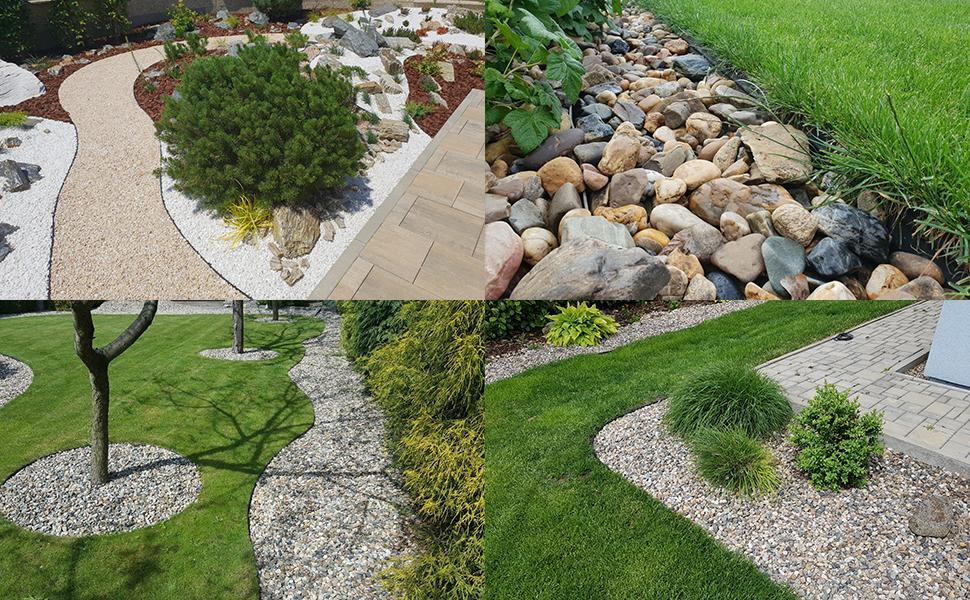 facilement séparer différentes telles pelouses  gravier parterres fleurs débris végétaux sentiers