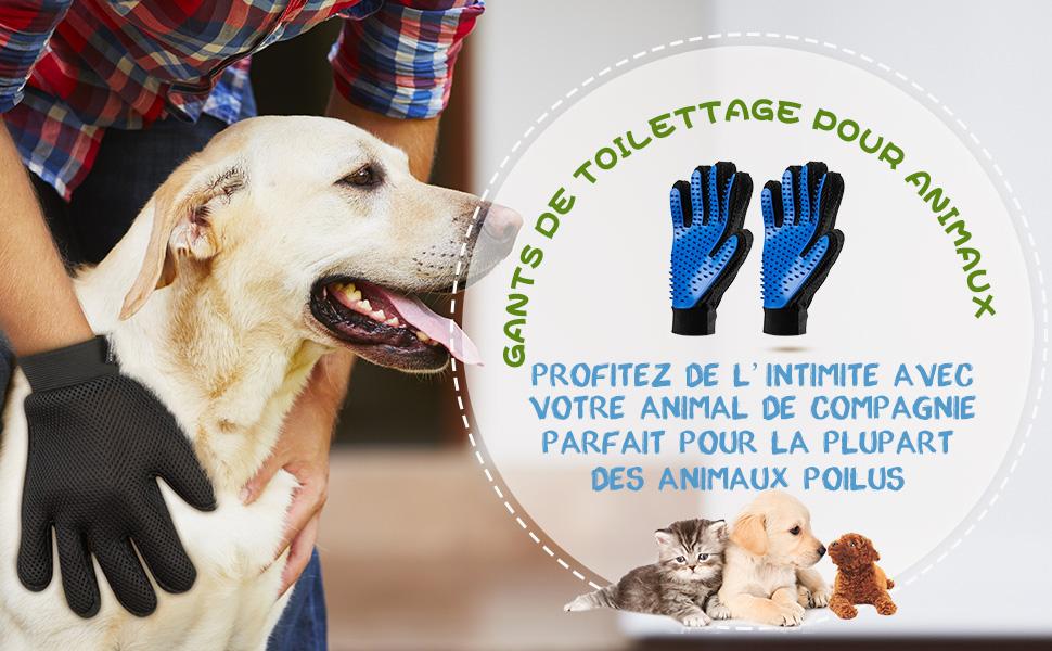 omorc gant de toilettage massage chien chat brosse de nettoyage bain animaux peigne epilateur. Black Bedroom Furniture Sets. Home Design Ideas