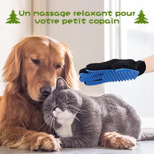 omorc gant de toilettage massage pour chien chat brosse de nettoyage bain pour animaux peigne de. Black Bedroom Furniture Sets. Home Design Ideas