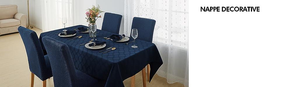 Deconovo Nappe Rectangulaire Imperm/éable Nappe Jacquard Motif Anniversaire Salon Table Basse de Jardin 137x274cm Bleu Marine