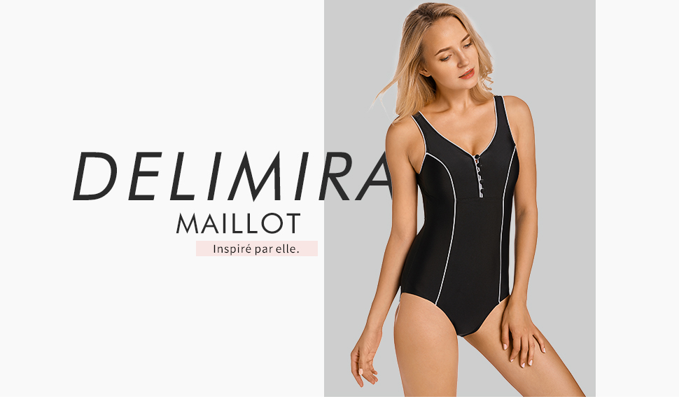 Alleza Femme Maillot de Bain 1 Pi/èce Tankini Monokini El/égant Amincissant Push Up