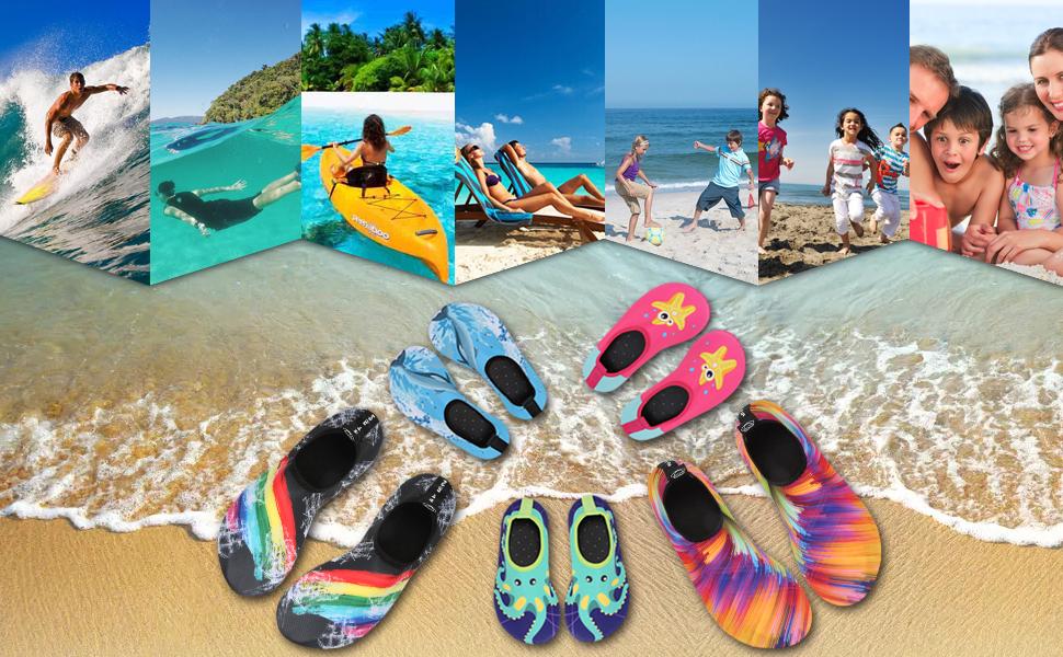 Padcod Chaussures de Sports Aquatiques pour Homme Femme Enfants,Chaussures de leau de Sport Et/é Aquatique Poids L/éger/à S/échage Rapide pour Piscine Nautiques,Plong/ée,Nager,Surf,Plage Pieds,Marche,Yoga