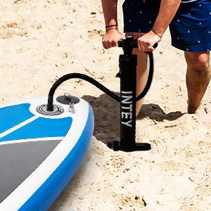 INTEY Tabla Paddle Surf Hinchable 305×76×15cm, Sup Paddle Remo Ajustable, Tabla Stand Up Paddle Board, Bomba de Doble, Seguridad