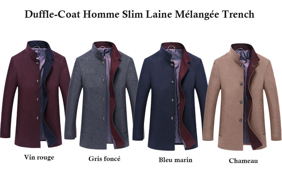 Mallimoda Homme Manteau Laine Slim Parka Casual Classique