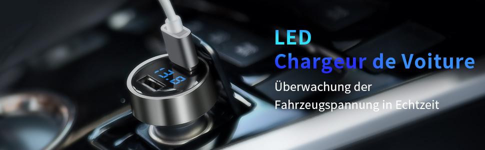 2 Ports USB 5V // 4.8A // 24W en Alliage dAluminium Chargeur Allume Cigare avec voltm/ètre num/érique LED Chargeur de Voiture Charge Rapide pour iPhone X // 8//7 Plus Galaxy S8 // S7 // Edge Argent