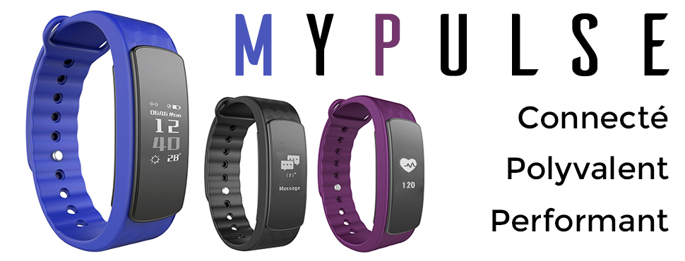 OuiVallée Bracelet connecté MyPulse Marque Française Capteur Cardiaque Podomètre Sommeil Bluetooth 4.0 Tracker Activité Physique