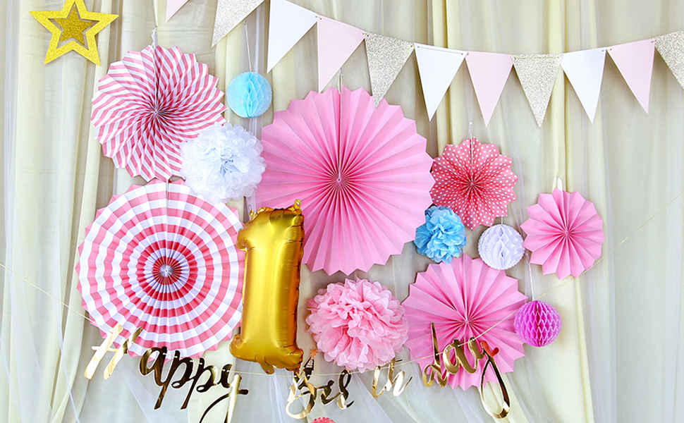 Easy Joy Anniversaire 1 An Fille Decoration Rose Rosace Papier Happy Birthday Banderole Or Fanion Guirlande Etoile Deco