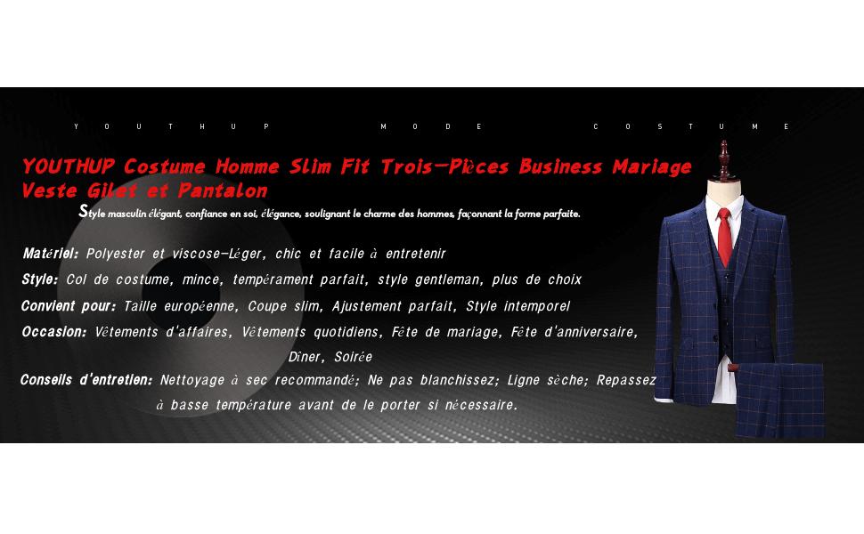 YOUTHUP Costume Homme Formel Slim Fit Elégant Classique Trois-Pièces ... b8adfcb32a6