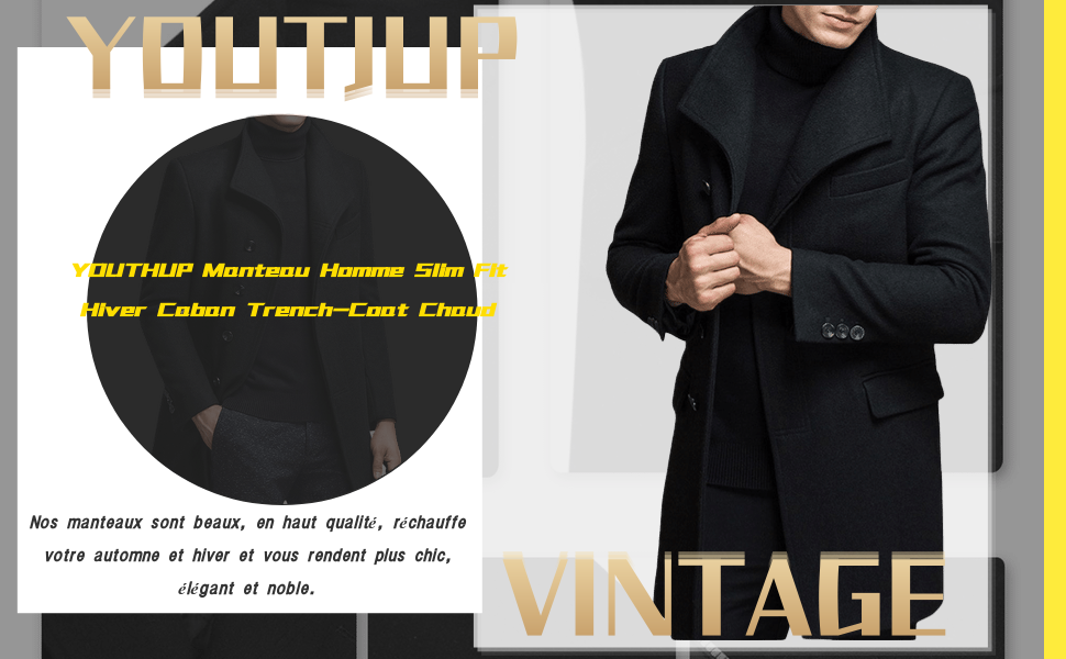 YOUTHUP Manteau Homme Hiver Trench-Coat Chaud Slim Fit Casual Long ... abf28846e96a
