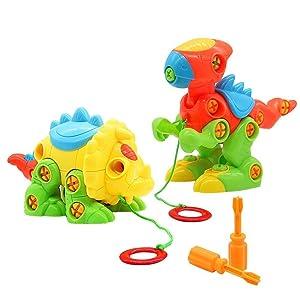 deAO Dinosaures Jouets Ensemble de 2 Figurines pour Construire et D/émonter Poup/ées Puzzle Comprend Tournevis