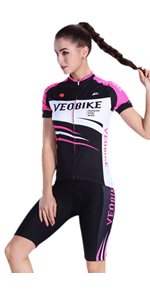 Femmes radtrikot Set 2019 Maillot Pantalon manches courtes Cuissard Rembourrage de siège vélo vélo de course