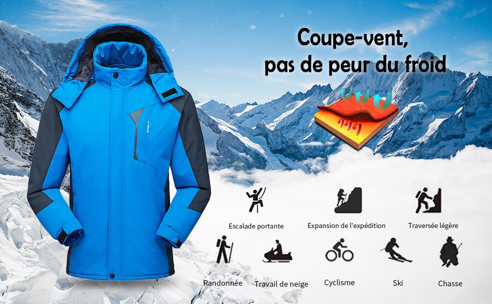 Lixada Hommes Veste dhiver /Étanche Manteau en Plein Air Coupe-Vent Polaire Ski Veste pour La Randonn/ée Courant Ski De Sport