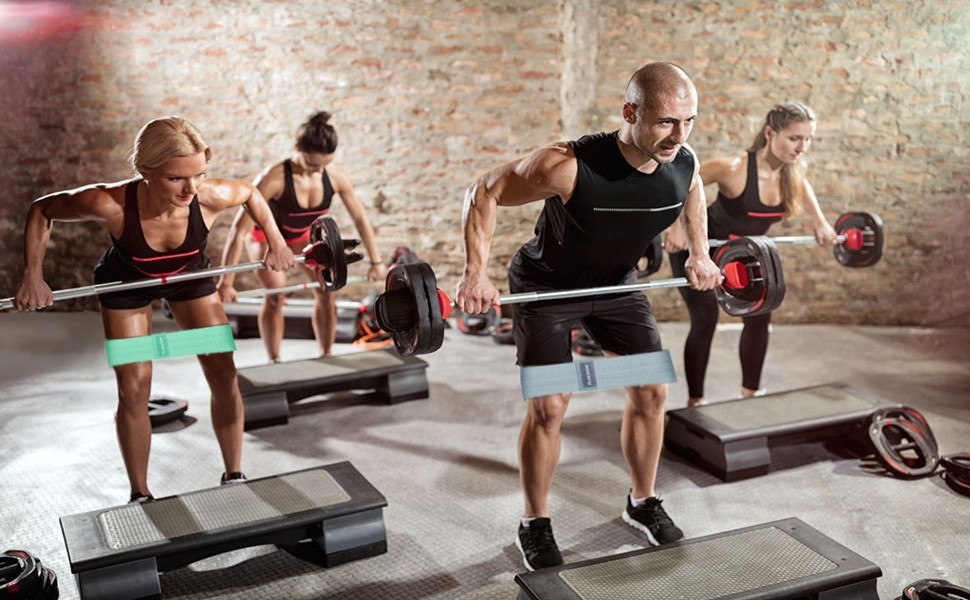 Jambes Fessiers GUSODOR Bande Elastique de R/ésistance /Équipement dExercices pour Musculation Pilates pour Yoga Corps Lot de 2 Bandes avec Sac de Transport