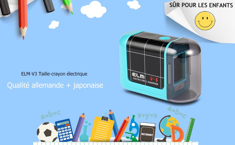 Kasimir Taille Crayon Electrique Professionnel Batterie Automatique Taille Crayon /électrique Portable pour Les Enfants /étudiants Artiste Designer Au Bureau De L/école Noir