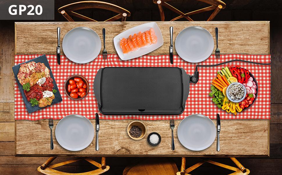 planche électrique partage convivialité viande poisson légumes tapas gambas thermostat cuisson