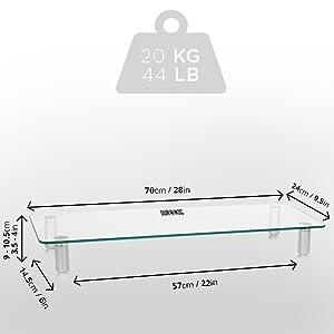 Dimensions du produit avec ajustement de la hauteur en fonction des besoins de l'utilisateur