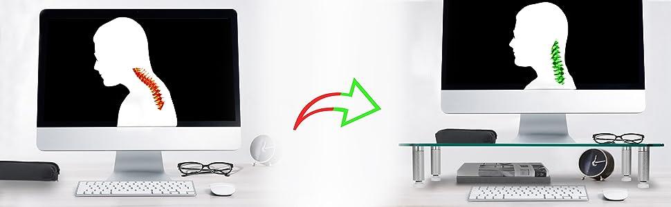 Permet d'optimiser l'angle de vision de l'écran d'ordinateur et éviter des douleurs orthopédiques