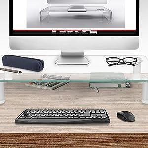 Permet d'optimiser l'espace de rangement disponible sur le bureau avec un espace pour affaires